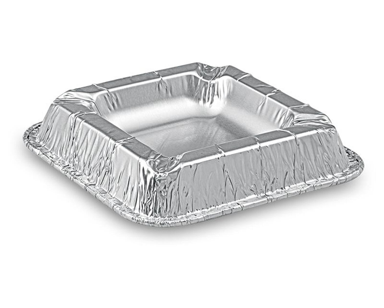 Alu Aschenbecher aus kräftigem Aluminium, eckig, 12,6 x 12,6 x 2,2 cm,  50 Stk.