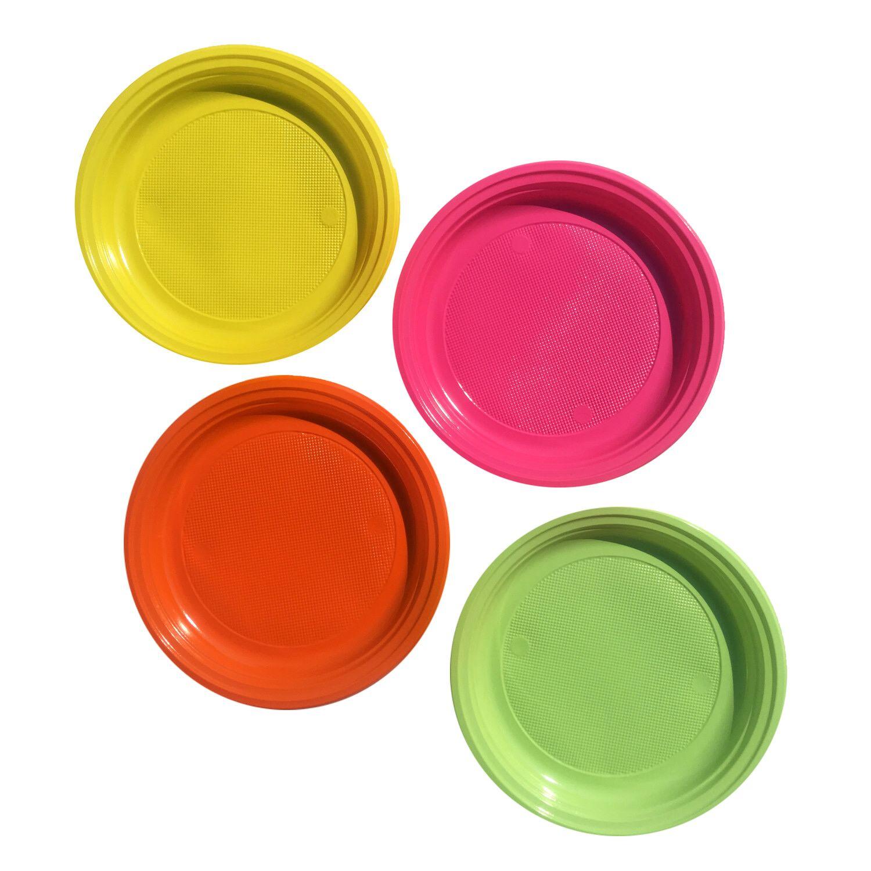 Teller Partyteller farblich bunt gemischt aus PS, rund Ø 22 cm, 20 Stk.