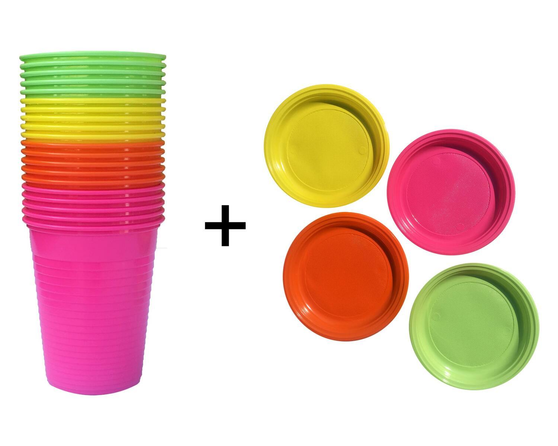 Partybecher 180 ml Ø 70 mm und Partyteller rund Ø 22 cm bunt gemischt je 20 Stk.