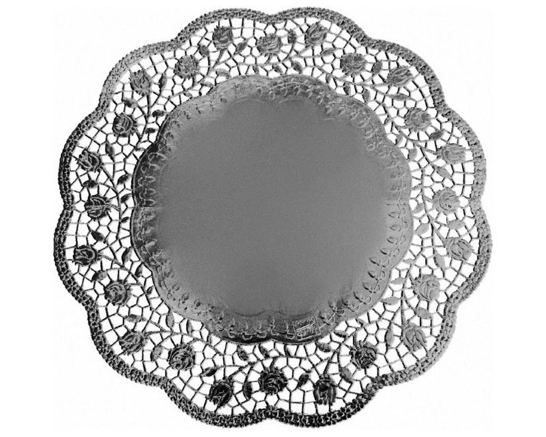 Deko-Tortenspitzen rund silber Ø 32 cm, 4 Stk.