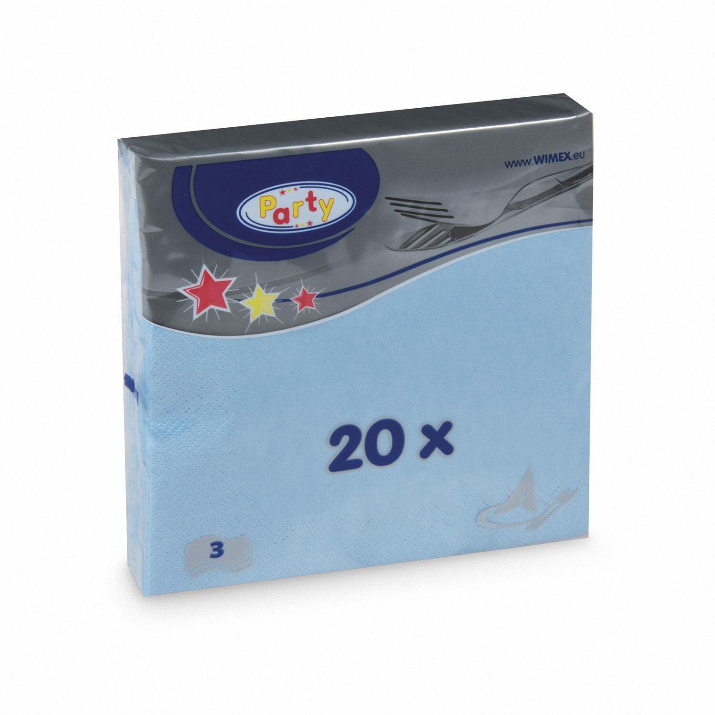 Servietten 33 x 33 cm 1/4-Falz 3-lagig hellblau, 20 Stk.
