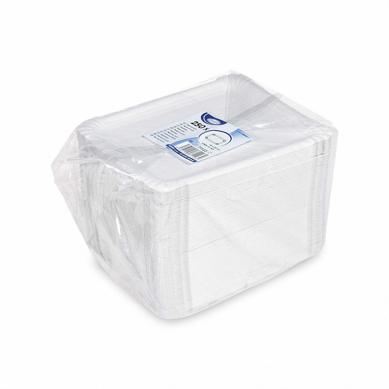 Pappteller Kuchenteller Imbissteller Teller Recycling 16 x 20 cm weiß, 250 Stk.
