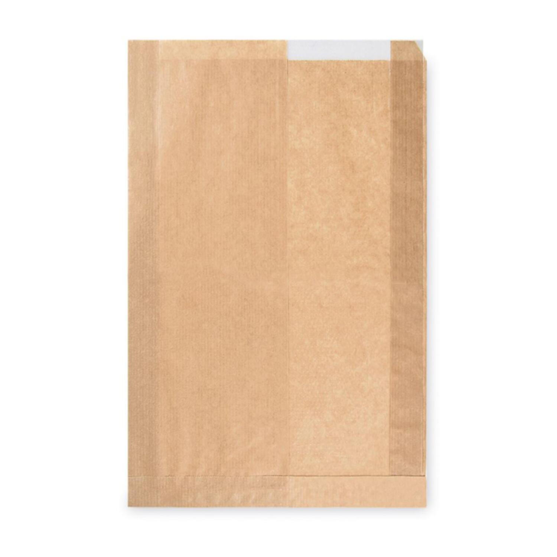 Papierfaltenbeutel Papiertüten mit Fenster braun 22+5 x 34cm Brotlaib, 1000 Stk.