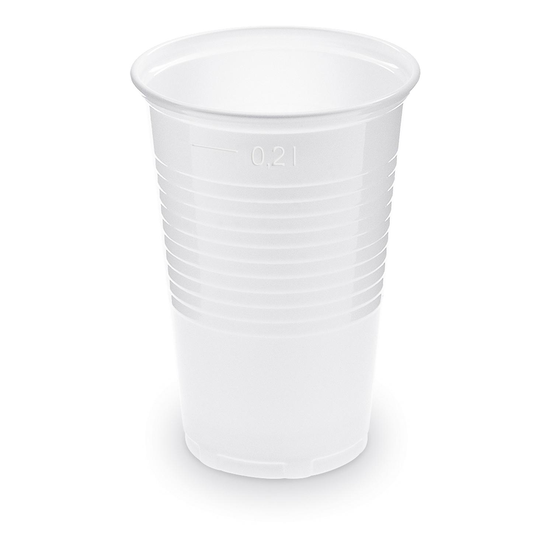 Trinkbecher weiß 200 ml Eichstrich bei 0,2 L, PP, Ø 70 mm, 15 Stk.