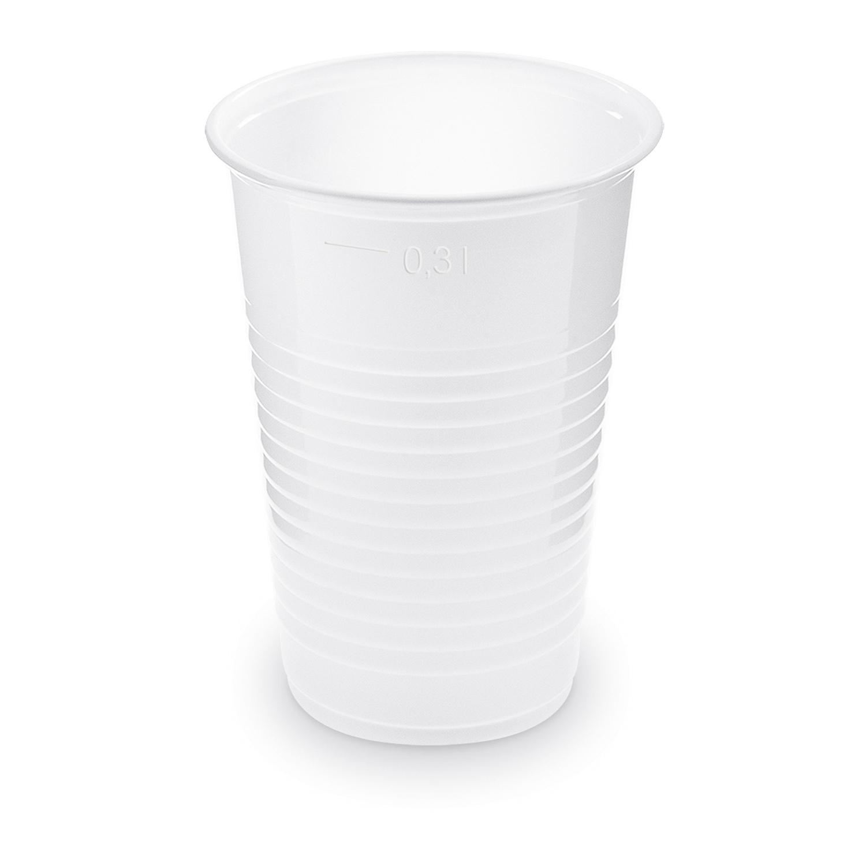 Trinkbecher weiß mit Eichstrich bei 0,3l und 1/2 Pint | 280ml 300ml PP, 10 Stk.