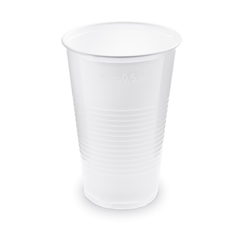 Trinkbecher Getränkebecher weiß mit Eichstrich bei 0,5l | 500 ml PP, 50 Stk.