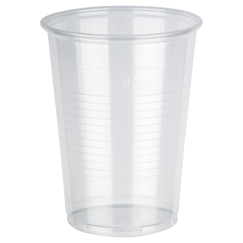 Trinkbecher transparent klar 0,4 l, 400 ml mit Füllstich aus PP, 50 Stk.