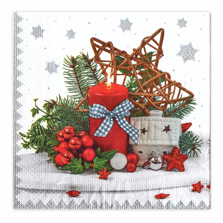 Weihnachtsservietten 3-lagig 33 x 33 cm Kerze rot. 20 Stk.