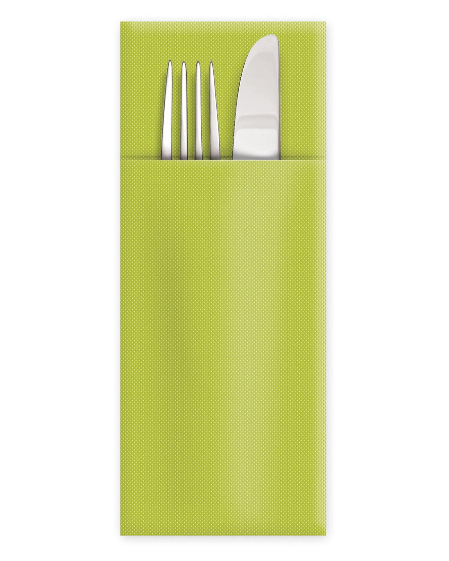 Servietten Bestecktaschen Premium 32 x 40 cm Airlaid gelbgrün, 50 Stk.