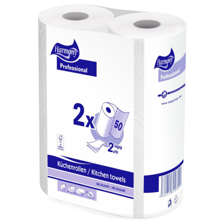 Küchenrollen Tissue 2-lagig Harmony Professional, 50 Blatt, 2 Stk.