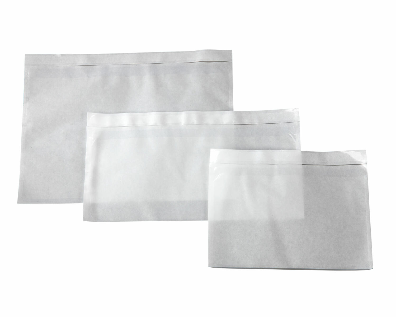 Dokumententaschen Begleitscheintaschen transparent DIN Lang 235x130mm   100 Stk.