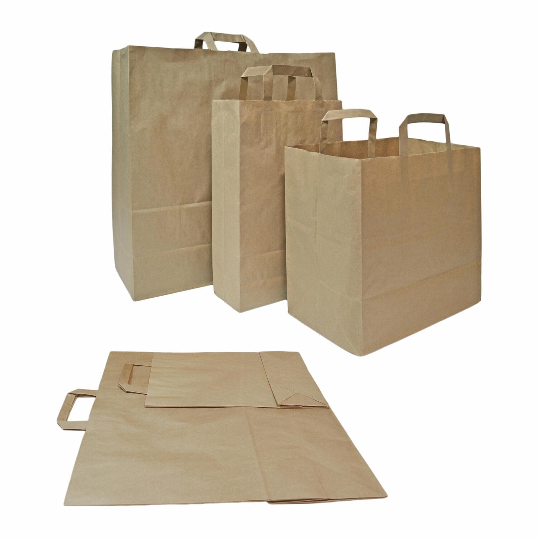 1-PACK Papiertragetaschen aus Kraftpapier, 220+100x280mm, braun 70 gr.