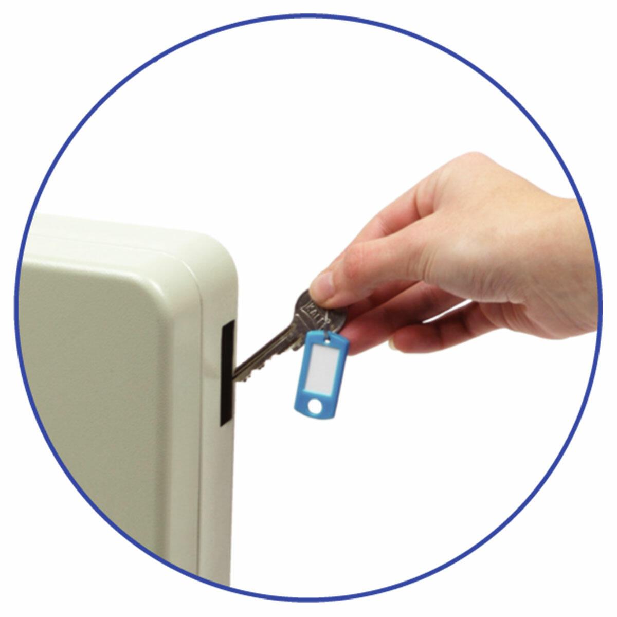 Schlüsselkasten für 108 Schlüssel inkl. Anhänger und seitl. Einwurfschlitz beige
