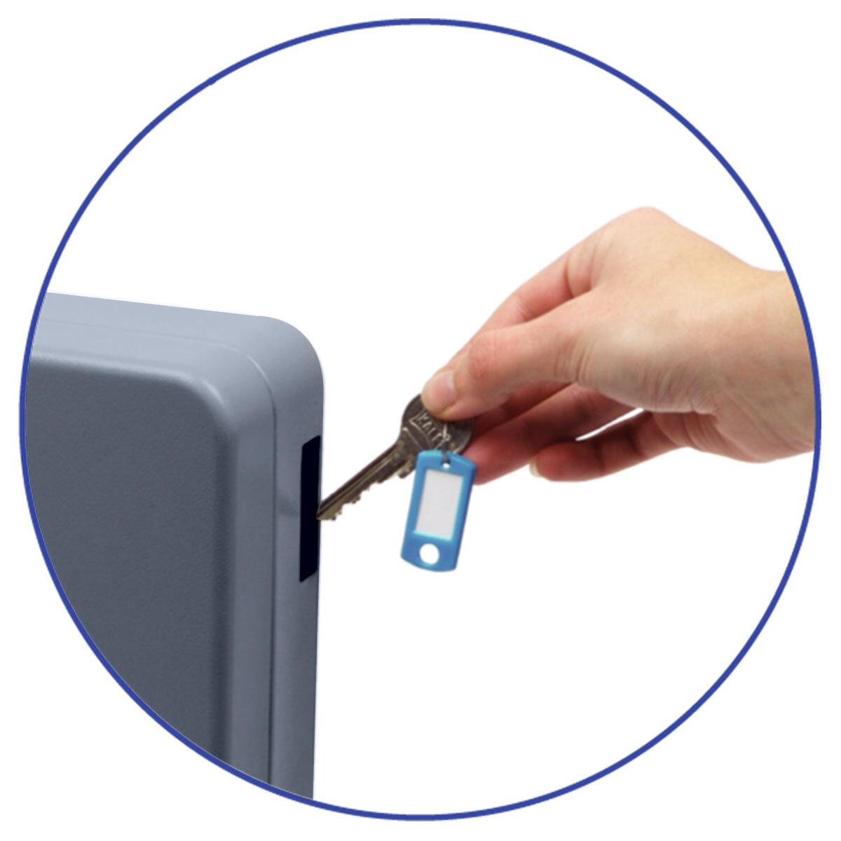Schlüsselkasten für  20 Schlüssel inkl. Anhänger und seitl. Einwurfschlitz, grau