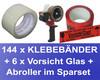 144x Klebeband 50mmx66m, LowNoise transparent + 6x Vorsicht Glas + Abroller