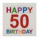 Motivservietten 3-lagig, 33 x 33 cm, 50 - Happy Birthday, bunt, 20 Stk.